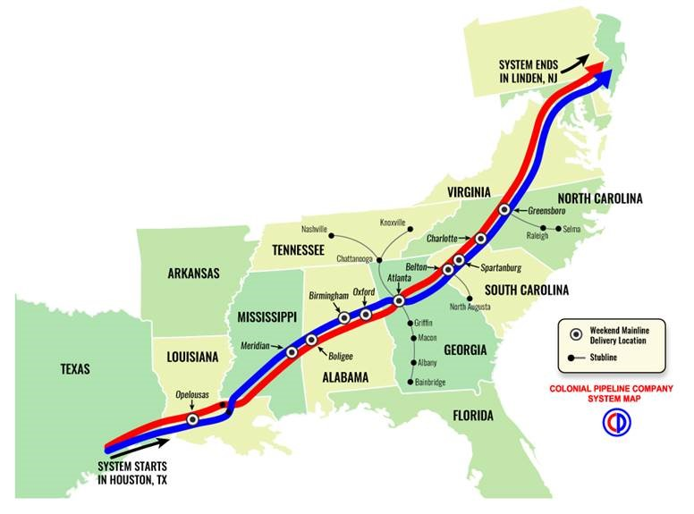 Colonial Pipeline Bypass Fixed Gas Could Flow Wednesday - Map of pipeline bursts in us