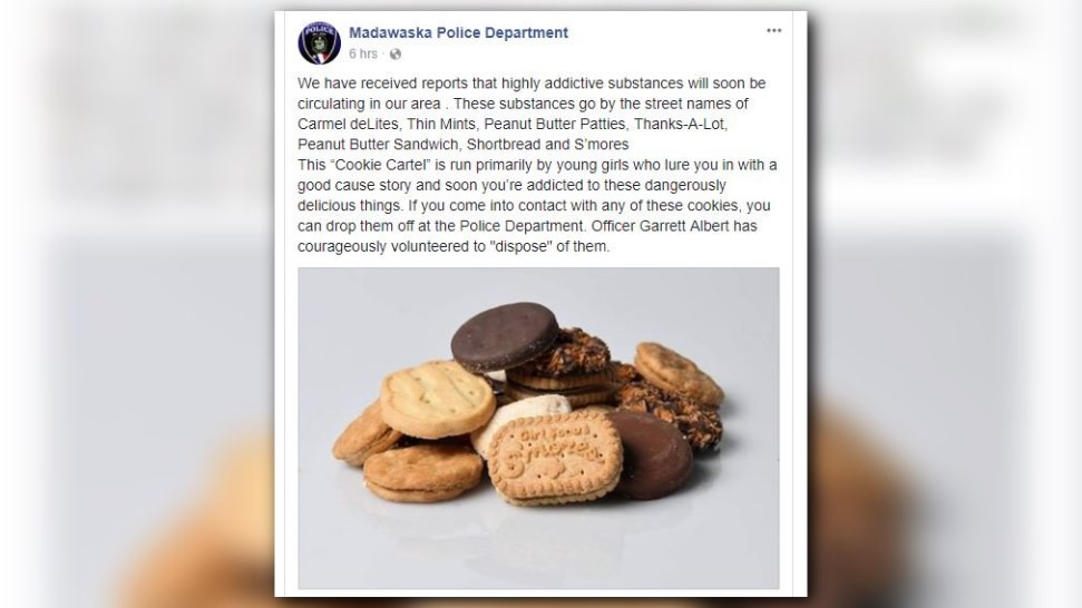 police department post hilarious warning about girl scout